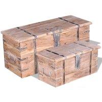 Araujo 2 Piece Acacia Wood Storage Chest Set by Bloomsbury Market - Brown