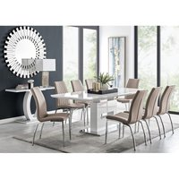 Furniturebox Uk - Arezzo Large Extending Dining Table and 8 Cappuccino Isco Chairs
