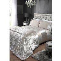 Ariana Silver Velvet Panel Detail Luxury Duvet Cover Set - Silver - Double