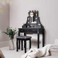 Arianna Deluxe Black Dressing Table with Hollywood LED Lights Bulbs Vanity Mirror 5 Drawers Stool For Makeup Bedroom Jewellery Set