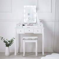 Arianna Deluxe White Dressing Table with Hollywood LED Lights Bulbs Vanity Mirror 5 Drawers Stool For Makeup Bedroom Jewellery Set