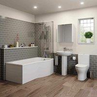 Arles Bathroom Suite - P Shaped Shower Bath - Right Hand