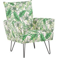 Fabric Armchair Metal Hairpin Legs Living Room Leaf Pattern White and Green Ribe