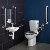 Contour 21 Doc M Pack with Close Coupled Toilet and Stainless Steel Rails - Left Handed - Armitage Shanks