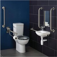 Contour 21 Doc M Pack with Close Coupled Toilet and Stainless Steel Rails - Right Handed - Armitage Shanks