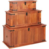 Arney 3 Piece Solid Acacia Wood Storage Chest Set by Bloomsbury Market - Brown