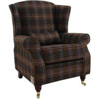 Designer Sofas 4 U - Arnold Harris Tweed Wool Wing Chair Fireside High Back Armchair Bowland Check Heather