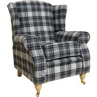Designer Sofas 4 U - Arnold Wool Tweed Wing Chair Fireside High Back Armchair Fernie Grey Check Fabric
