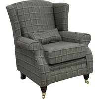 Designer Sofas 4 U - Arnold Wool Tweed Wing Chair Fireside High Back Armchair Harewood Graphite Check Fabric