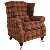 Arnold Wool Tweed Wing Chair Fireside High Back Armchair Heritage Scarlet Check Fabric