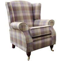 Designer Sofas 4 U - Arnold Wool Tweed Wing Chair Fireside High Back Armchair Hunting Tower Grape Check Fabric