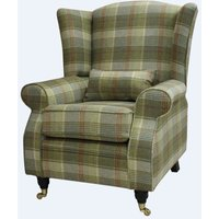 Designer Sofas 4 U - Arnold Wool Tweed Wing Chair Fireside High Back Armchair Hunting Tower Hemp Check Fabric