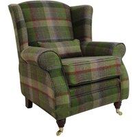 Designer Sofas 4 U - Arnold Wool Tweed Wing Chair Fireside High Back Armchair Malham Lime Check Wool