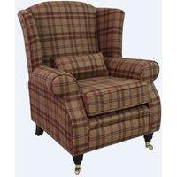 Designer Sofas 4 U - Arnold Wool Tweed Wing Chair Fireside High Back Armchair Nunnington Geranium Check Fabric