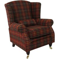Designer Sofas 4 U - Arnold Wool Tweed Wing Chair Fireside High Back Armchair Sandringham Mandarin Check Fabric