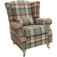 Arnold Wool Tweed Wing Chair Fireside High Back Armchair Skye Agate Check Tartan - DESIGNER SOFAS 4 U