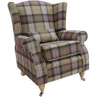 Designer Sofas 4 U - Arnold Wool Tweed Wing Chair Fireside High Back Armchair Skye Moonstone Check Tartan