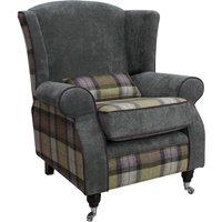Designer Sofas 4 U - Arnold Wool Tweed Wing Chair Fireside High Back Armchair Skye Moonstone Wool And Keira plain Pewter