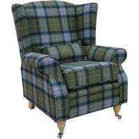 Designer Sofas 4 U - Arnold Wool Tweed Wing Chair Fireside High Back Armchair Skye Olivine Check Tartan