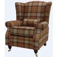 Arnold Wool Tweed Wing Chair Fireside High Back Armchair Skye Rust Check Fabric