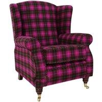 Designer Sofas 4 U - Arnold Wool Tweed Wing Chair Fireside High Back Armchair Wimbledon Multi Pink Check Fabric