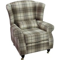Designer Sofas 4 U - Arnold Wool Tweed Wing Chair Fireside High Back Armchair Wool Plaid Devon Fudge Check Fabric