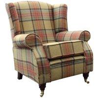 Designer Sofas 4 U - ArnoldWool Tweed Wing Chair Fireside High Back Armchair Beningborough Goldcrest Check Fabric