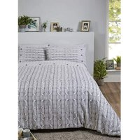 Rapport - Arran Duvet Cover Set, 100% Brushed Cotton, Grey, Double