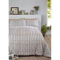 Arran Duvet Cover Set, 100% Brushed Cotton, Natural, Single - RAPPORT
