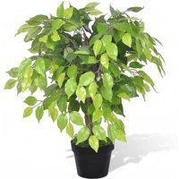 Artificial Dwarf Ficus with Pot 60 cm - Green - Vidaxl