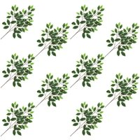 Artificial Leaves Ficus 10 pcs Green and White 65 cm - YOUTHUP