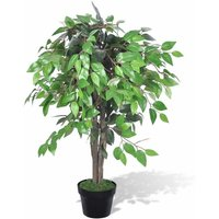 Artificial Plant Ficus Tree with Pot 90 cm - Green - ZQYRLAR