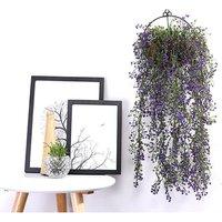 Artificial Trailing Ivy Flower Vine Leaf Garland Plants, Purple - LIVINGANDHOME