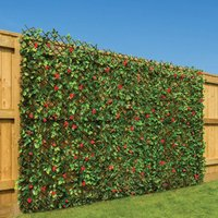 Trellis With Red Flowers (1m x 2m) - CHRISTOW