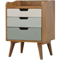 Solid Mango Wood Bedside Green Hand Painted Cut Out Drawers - Artisan Furniture