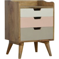 Solid Mango Wood Bedside Pink Hand Painted Cut Out Drawers - Artisan Furniture