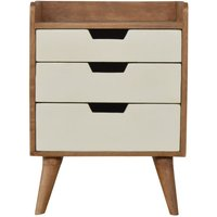 Solid Mango Wood - Bedside With Hand Painted Cut-Out Drawers - Artisan Furniture