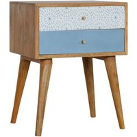 Solid Mango Wood Blue Geometric Patterned Bedside Table - Artisan Furniture