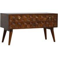 Solid Mango Wood Chestnut Diamond Carved Storage Hallway Bench - Artisan Furniture