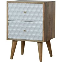Artisan Furniture Solid Mango Wood - Honeycomb Carved Bedside With 2 Drawers
