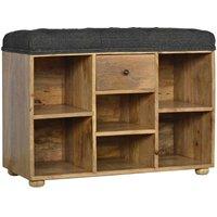 Solid Mango Wood Shoe Storage Bench Black Tweed Seat - Artisan Furniture