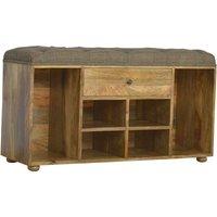 Artisan Furniture Solid Mango Wood Shoe Storage Bench Upholstered Multi Tweed