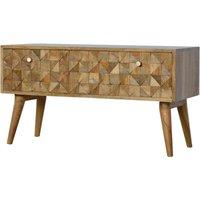Solid Mango Wood Small Tiled Bench 2 Drawers - Artisan Furniture