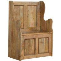 Solid Mango Wood Small Wood Storage Hallway Monks Bench - Artisan Furniture