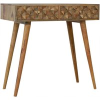 Solid Mango Wood Tile Carving Console Sideboard Table - Artisan Furniture