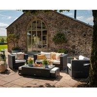 Ascot 2 Seater Rattan Garden Sofa Set in Black and Vanilla