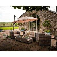 Rattan Direct - Ascot 2 Seater Rattan Garden Sofa Set in Premium Truffle Brown and Champagne
