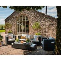 Rattan Direct - Ascot 3 Seater Rattan Garden Sofa Set in Black and Vanilla