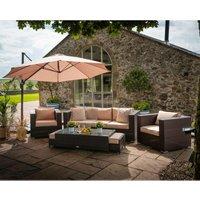 Rattan Direct - Ascot 3 Seater Rattan Garden Sofa Set in Chocolate and Cream