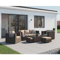 Rattan Direct - Ascot 3 Seater Rattan Garden Sofa Set in Premium Truffle Brown and Champagne